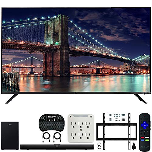 TCL 65R617 65-inch Class 6-Series 4K HDR Roku Smart TV Bundle with TCL Alto 7+ 2.1 Channel Sound Bar, Wireless Keyboard, Deco Mount Wall Mount Kit and 6-Outlet Surge Adapter