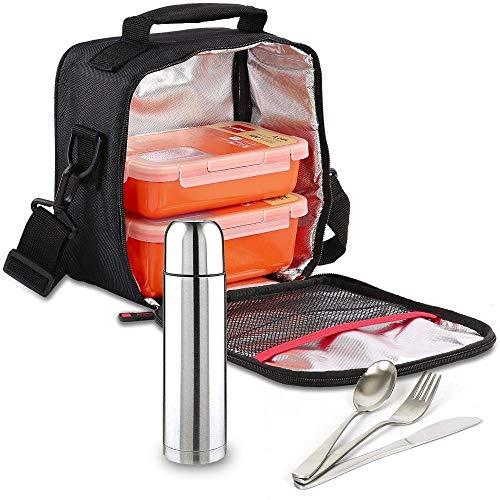 Kit Bolsa Porta Alimentos Valira Bricolemar Compact con 2 Tupper Naranja y Juego de Cubiertos + Termo 0,35 lt. IMF-Kabra