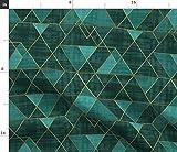 Geometrisch, Dreiecke, Gold, Blau Grün, Smaragdgrün,