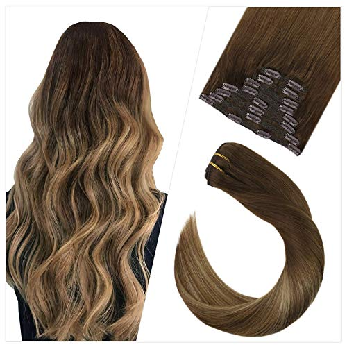 Ugeat 16Pollici/40cm Clip in Hair Extensions Full Head Balayage #4/6/14 Marrone Scuro con Marrone Medio a Bionda Dorato 10PCS 120Grammo Lisci Extension Capelli Veri Clip