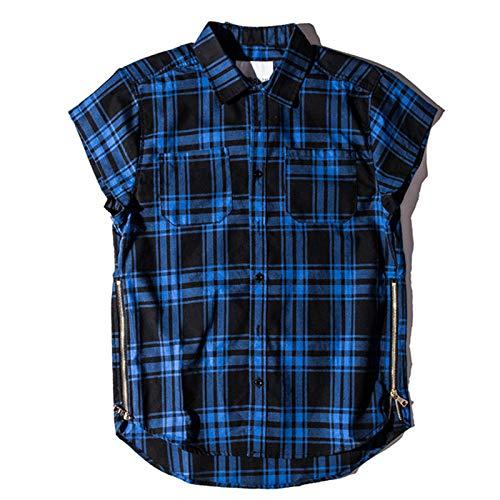 Zestion Camisas de Cuello Vuelto para Hombre Camisas Informales de Moda Transpirables cómodas con Estampado de Cuadros a Rayas con Cremallera Decoración Large
