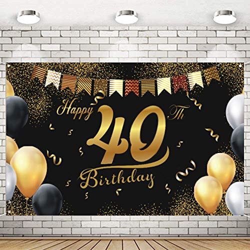 Decoración de Fiesta de 40 Cumpleaños,Feliz Cumpleaños Pancarta,Fiesta de 40 Años,40 Cumpleaños Decoracion,Póster de Tela,40 Aniversario