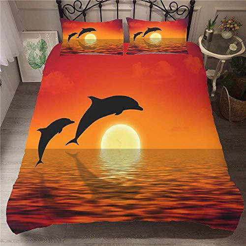Bedding Set, Microfiber 3D Sunset dolphin Effect Printed Duvet Cover Set Quilt Cover with Zipper +50x75 Pillow Case Super Soft Comfortable (3pcs-135x200+50x75cm,dolphin)