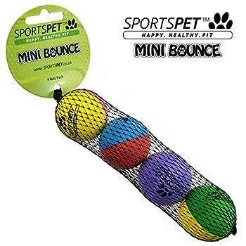 Sportspet Lot de 4 mini balles rebondissantes en caoutchouc pour chatons, chats et chiots