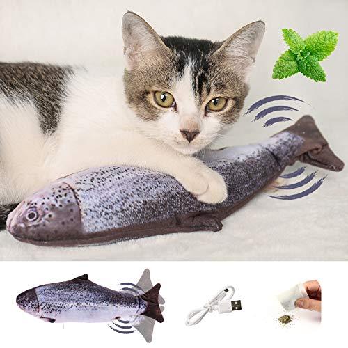 Elektrisch Spielzeug Fisch, Katze Spielzeug Fisch Interaktiv Fisch Spielzeug FüR Katzen, Lustige Katzenspielzeug Mit Katzenminze, Usb Aufladung, Waschbar, Fisch Spielzeug FüR Katzen, Kauen Und Treten