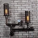 Lámparas de pared industriales, Vintage Wall Light Indoor Industrial Retro Americano Loft Doble Cabeza Malla Jaula Diseño E27 ¿La antigua pintura para hornear, lámpara de pared de la tubería de agua d