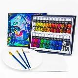 Arikaree®️ Pinturas Acrilicas Pintura Para Tela 24 Tubos Pinturas Acrilicas Manualidades 3 Pinceles, Paleta, Acrilicas Para Lienzos, Profesionales Set Cuadros