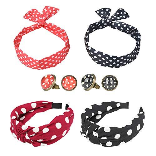 Haarband stirnband, Knoten-Stirnband niedlich Polka Dot, verdrehte Haarbänder und Damen-Ohrstecker für Mädchen und Frauen (Packung mit 6)