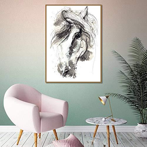 HD Leinwand Kunst moderne Pferd Wandkunst Leinwand Malerei nordische Poster und Drucke Tier Wandbilder für Schlafzimmer nach Hause rahmenlose dekorative Malerei Z53 50x70cm