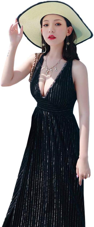 ZENWEN Beach Skirt Seaside Holiday Temperament Super Fairy Female Sense Back Long Dress Women's Dress