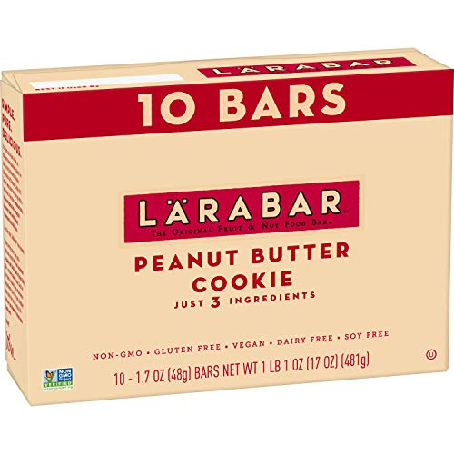 Larabar Gluten Free Bar, Peanut Butter Cookie, 1.7 oz Bars (10 Count), Whole Food Gluten Free Bars, Dairy Free Snacks