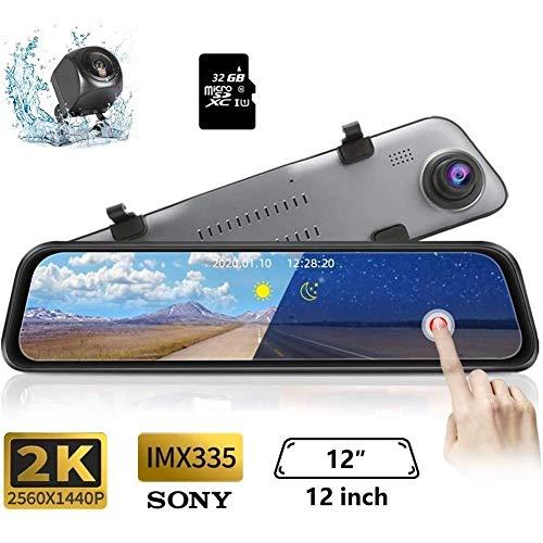 LTLHXM Parküberwachung, Dashcam Spiegel 12 Zoll LCD-Touchscreen Rückfahrkamera Mit 1080P Frontkamera Und 720P Rückkamera Wasserfes Autokamera Mit Parkmodus G-Sensor Bewegungserkennung
