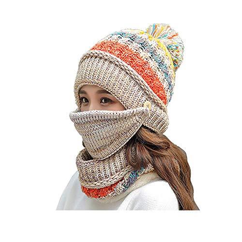 Umily Damen Mädchen stricken Mütze Schal Maske Set weiche warme Fleece gefüttert Winter Ski Hut mit Pompom