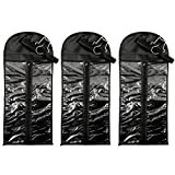 Hair Extension Set with 3 Holders and 3 Storage Bags (Black, 3 Pack, 6 Pieces)