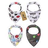 iZiv Baberos del Bebé - Paquete de 4 Diseños Pañuelo con Snaps Ajustables, TPU Impermeable Guarnición para niño 0-2 años (Color-10)