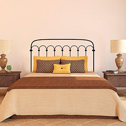 Vinilo decorativo de pared, diseño de cabecero de cama, estilo de hierro forjado, color negro, vinilo, negro, 34