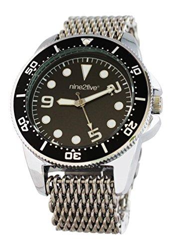 nine2five aspm07slng Hombres Pulsera de Plata de Acero Stainelss de la Banda Negro Dial Reloj