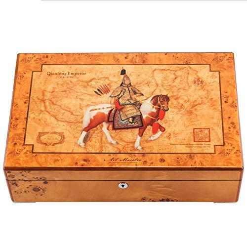 AJH Boom tumor massief hout sieraden collectie doos met 4 epitopes, Echte Vintage Sieraden Box Houten Horloge Box Opbergdoos