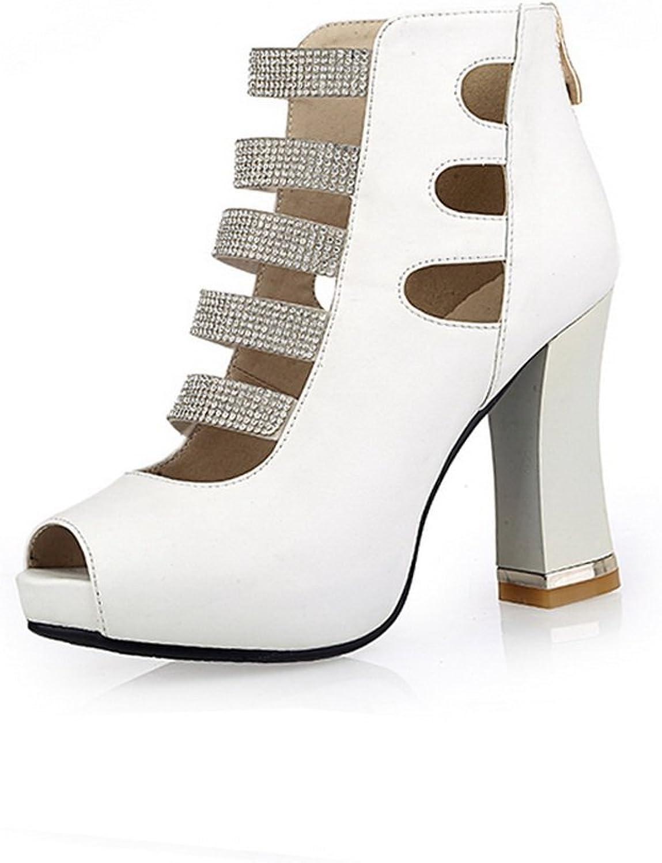 AmoonyFashion Women's Solid Blend Materials High Heels Peep Toe Zipper Sandals