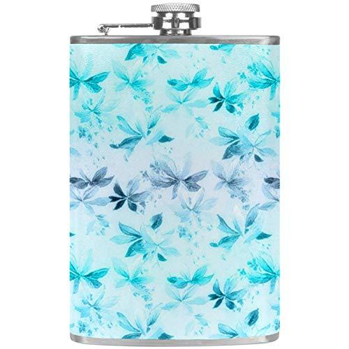 Petacas de Alcohol Mariposa Azul romántica Petaca 227ml Acero Inoxidable para Whisky Vodka Alcohol líquido con embudos para Hombres y Mujeres 9.2x15cm