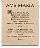 Ave María, Hail Mary Spanish Prayer Wall Art, 11'x14' Unframed Print - Stunning Version of the Mother Marys Prayer, Religious Inspirational Room Wall Decor for any Home