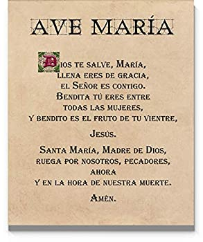Ave María Hail Mary Spanish Prayer Wall Art 11 x14  Unframed Print - Stunning Version of the Mother Marys Prayer Religious Inspirational Room Wall Decor for any Home