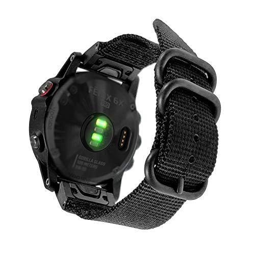 YOOSIDE for Fenix 5X/Fenix 6X Quick Easy Fit Watch Band,26mm Woven Nylon Breathable Replacement Wristband Strap for Garmin Fenix 5X/5X Plus,Fenix 6X/Tactix Bravo/Charlie,Quatix 3 (Black)