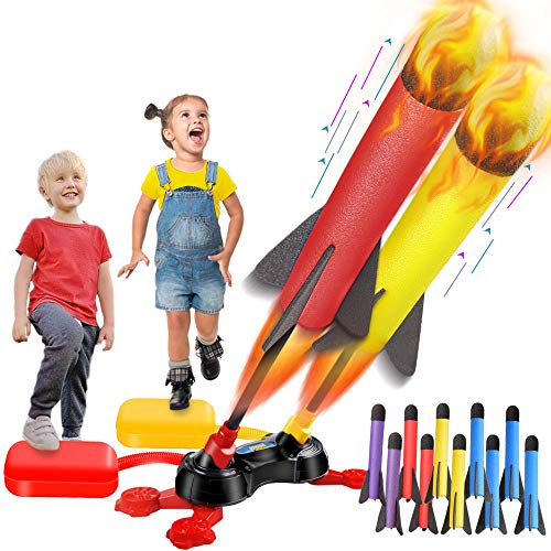 LQYoyz Kids Toys, Duel Rocket Launcher Toys with 10 Rockets - Shoot Up to 100 Feet, Outdoor Air Rocket Toys Gifts for 4, 5, 6, 7, 8, 9, 10, 11 Year Old Boys, Girls, Kids