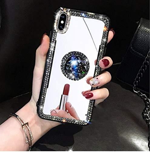 LIUYAWEI Caja del teléfono para Huawei P30 Lite Pro P40 P20 Pro Lite Enjoy 20 Pro 10S 9 Plus 9S Z Espejo de Maquillaje de Cristal Anillo de Dedo de Diamante, Sin Correa, para P40