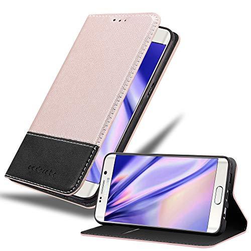 Cadorabo Hülle für Samsung Galaxy S6 Edge Plus - Hülle in ROSÉ Gold SCHWARZ – Handyhülle mit Standfunktion und Kartenfach aus Einer Kunstlederkombi - Case Cover Schutzhülle Etui Tasche Book