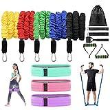 Set de bandas de resistencia, 15 piezas kit bandas gomas elasticas fitness musculacion para bandas de ejercicio, para Fitness Strength Slim Yoga Equipo de gimnasio en casa para hombres / mujeres