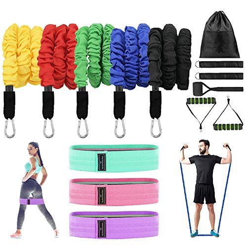 Set de bandas de resistencia,5 Bandas Elasticas Musculacion y 3 cintas gomas elasticas fitness, Adecuado para fitness yoga fisioterapia estiramientos.Gimnasio en Casa piezas kit para hombres/ mujeres