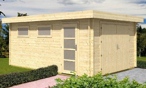 Preisvergleich Produktbild Blockhausgarage C01 - 380x536 cm - 40mm - Carport Gartenhaus - Inkl. Verglasung - Blockhaus-Garage