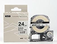 キングジム テプラPro用 互換 テープカートリッジ ST24KW(ST24Kの強粘着) 24mm 透明地黒文字
