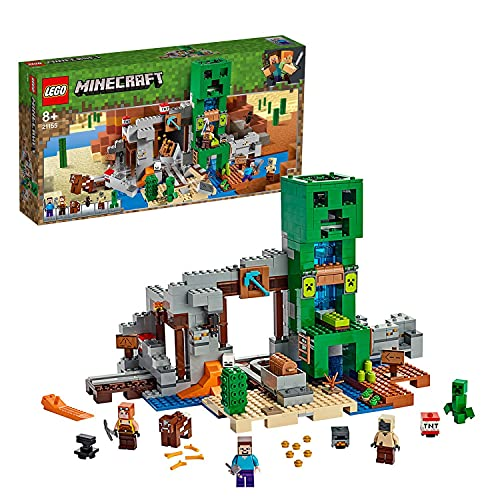 LEGO 21155 Minecraft LaMineduCreeper, Set avec Figurine de Steve, Forgeron, Husk, Creeper et Figures d'animaux Plus TNT