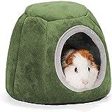 Cama de conejillo de indias para hámster, cama y esconde pequeños juguetes de animales, de algodón, nido de dormir(20 x 16 cm, diámetro de entrada de la cueva: 10 cm)