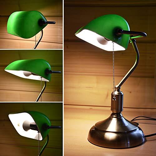 Bankerlampe mit Lampenschirm - Retro Tischlampe Schreibtischlampe Bibliotheksleuchte Banker Vintage Lampe im 20er Jahre Dekor
