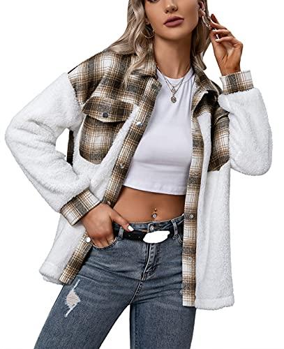 JHDESSLY Camisa de tela escocesa casual de lana casual de las mujeres de un solo pecho de felpa camisa de cuadros chaqueta de abrigo, style2, L
