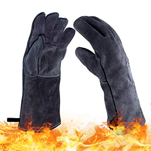 Homeatk Kaminhandschuh Leder, 500 Grad Feuerfest Handschuhe,Profi Dick Grillhandschuhe Hitzebeständig Extra Lang Grillen Kamin Ofen Ofenhandschuhe,Grau