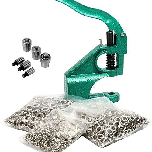 8MILELAKE 3 Die Hand Press Grommet Machine #0#2#4 w/ 1500Pcs Grommets & Eyelet Feeding & Rolling Base