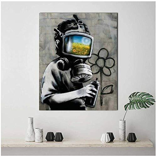 NRRTBWDHL Banksy Art Gasmaske Leinwand Malerei Druck Wohnzimmer Home Decoration Moderne Wandkunst Ölgemälde Poster Bilder Zubehör-50x70cm Kein Rahmen
