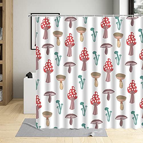 KLYINP DuschvorhangWohnkultur Gardinen Tomate Gemüse Pilz Druck Duschvorhang Wasserdicht Polyester Stoff Cartoon
