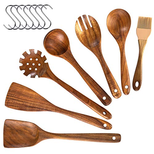 Wooden Utensils Set,8 Pcs Wooden Kitchen Utensils For Cooking, Natural Teak Wooden Spoon Sets For Cooking Wooden Spatula Set For Non-Stick Pan (8)