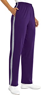 AmeriMark Women's Warm Up Sweat Pants with Contrast Stripes 100% Cotton