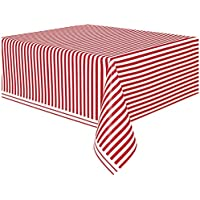 Unique Party - Mantel de Plástico - 2,74 m x 1,37 m - Diseño de Rayas Rojas (50300)