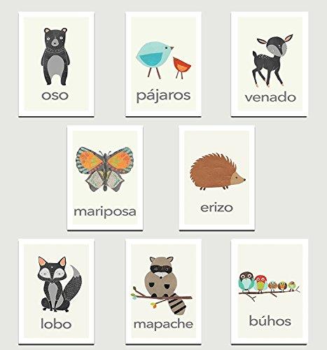 Children Inspire Design Animales de la naturaleza en las tarjetas de pared colección mini española