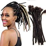 Lot de 40 mèches de cheveux humains afro crépus à la main - Noir - Pour femmes et hommes - 20,3 cm - Diamètre 0,6 cm