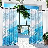 Cortinas para interiores y exteriores, color aguamarina, con pinceles, manchas de pintura, 254 x 241 cm, para patio y jardín delantero (1 panel)