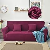 Funda de sofá elástica de Terciopelo de Lana Polar para Sala de Estar Funda elástica de Color sólido Funda de sofá Silla Funda de sofá A11 4 plazas