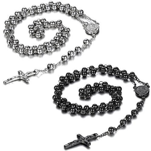 Jewelrywe Joyas de acero inoxidable, collar con conexión de perlas, cadena de plata, rosario Jesus Jesus Cristo, crucifijo cruz retro para hombre Negro y plateado.